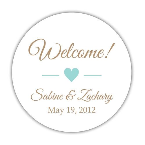 "Wedding welcome stickers heart - 1.5"" circle = 30 labels per sheet / Sand/Aquamarine - Dazzling Daisies"