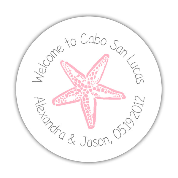 "Wedding welcome stickers 'Beach Beauty' - 1.5"" circle = 30 labels per sheet / Gray/Pink - Dazzling Daisies"