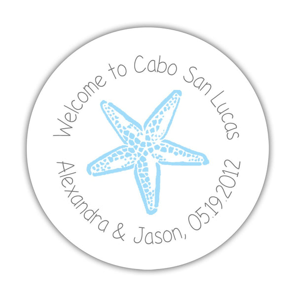 "Wedding welcome stickers 'Beach Beauty' - 1.5"" circle = 30 labels per sheet / Gray/Sky blue - Dazzling Daisies"