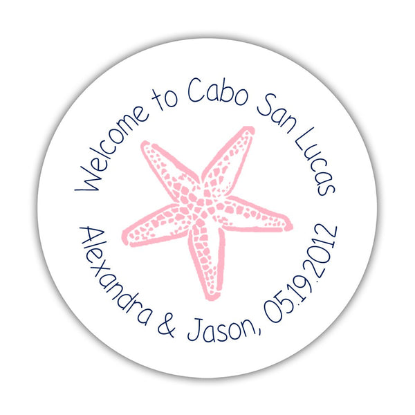 "Wedding welcome stickers 'Beach Beauty' - 1.5"" circle = 30 labels per sheet / Navy/Pink - Dazzling Daisies"
