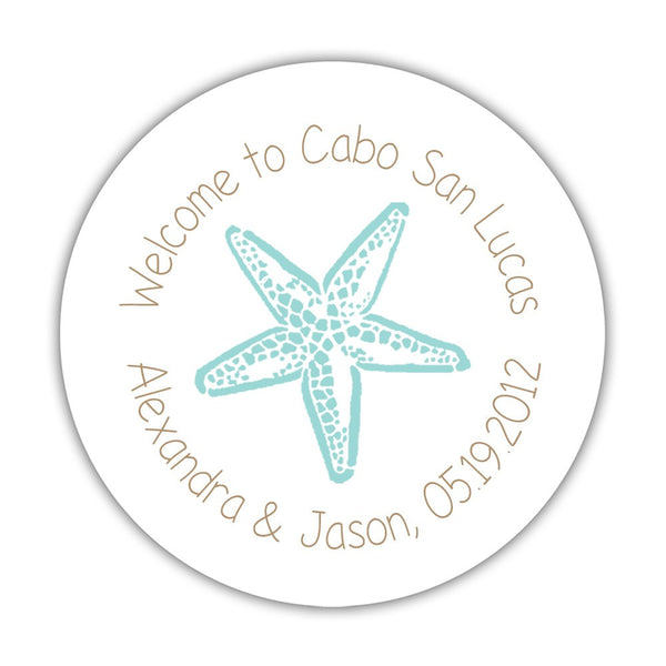 "Wedding welcome stickers 'Beach Beauty' - 1.5"" circle = 30 labels per sheet / Sand/Aquamarine - Dazzling Daisies"