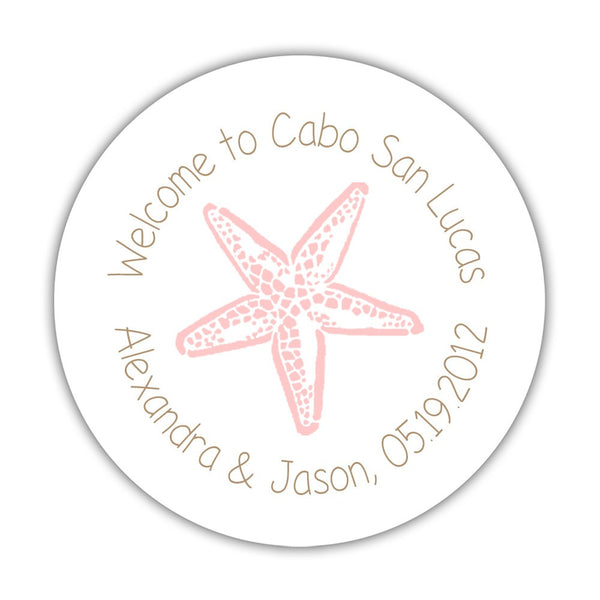 "Wedding welcome stickers 'Beach Beauty' - 1.5"" circle = 30 labels per sheet / Sand/Blush - Dazzling Daisies"