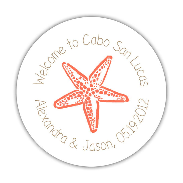"Wedding welcome stickers 'Beach Beauty' - 1.5"" circle = 30 labels per sheet / Sand/Coral - Dazzling Daisies"