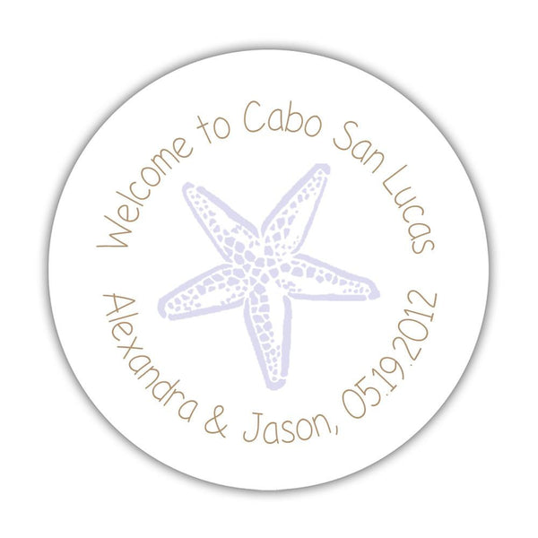 "Wedding welcome stickers 'Beach Beauty' - 1.5"" circle = 30 labels per sheet / Sand/Lavender - Dazzling Daisies"