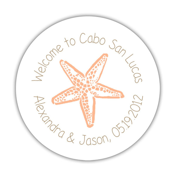 "Wedding welcome stickers 'Beach Beauty' - 1.5"" circle = 30 labels per sheet / Sand/Peach - Dazzling Daisies"