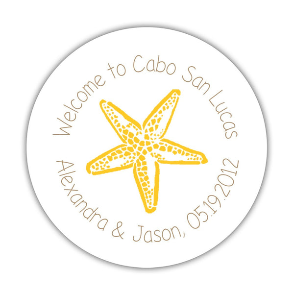 "Wedding welcome stickers 'Beach Beauty' - 1.5"" circle = 30 labels per sheet / Sand/Yellow - Dazzling Daisies"