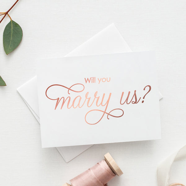Will you marry us card 'Luxury Love' - Rose gold foil - Dazzling Daisies