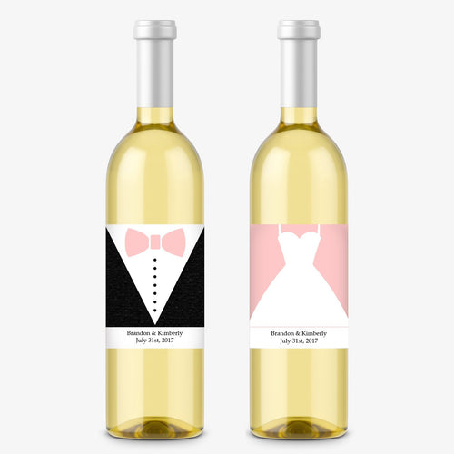 Wine bottle labels 'Dress Up' -  - Dazzling Daisies