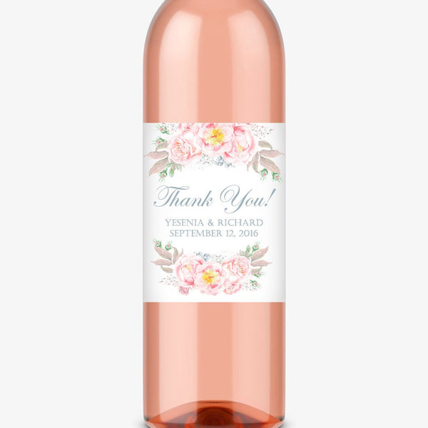 Wine bottle labels 'Floral Romance' - Slate - Dazzling Daisies