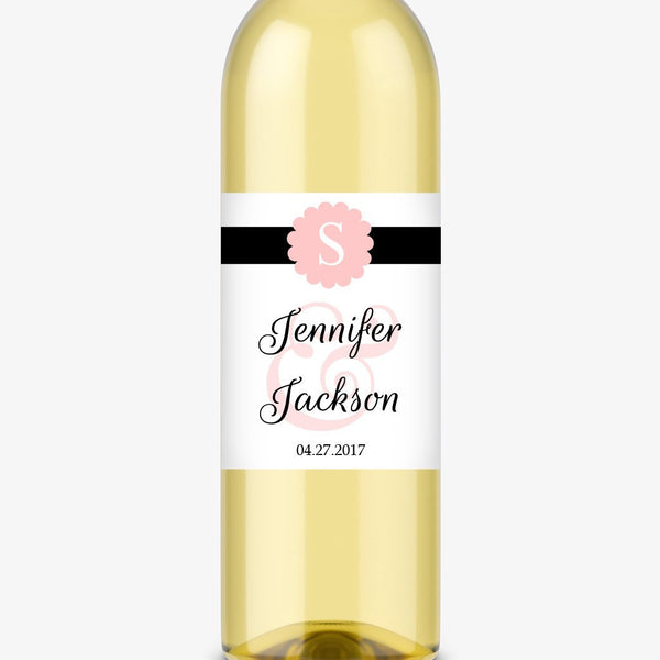 Wine bottle labels 'Cigar Band' - Blush - Dazzling Daisies