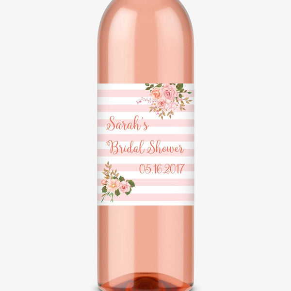 Wine bottle labels 'Striped Florals' - Coral - Dazzling Daisies