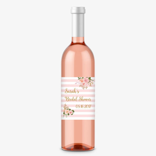 Bridal shower wine bottle labels floral stripes -  - Dazzling Daisies