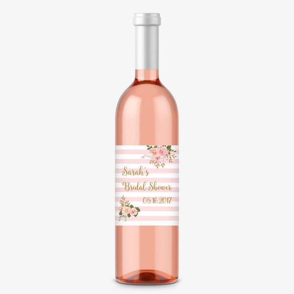 Wine bottle labels 'Striped Florals' -  - Dazzling Daisies