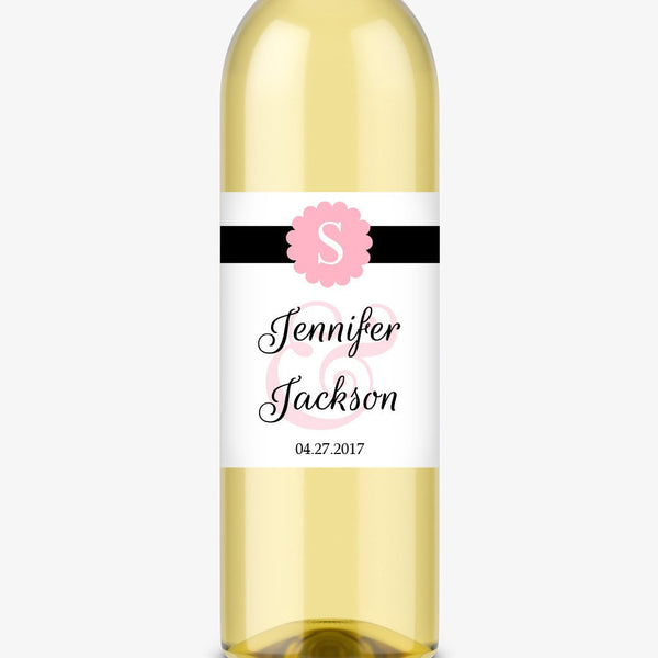 Wine bottle labels 'Cigar Band' - Pink - Dazzling Daisies