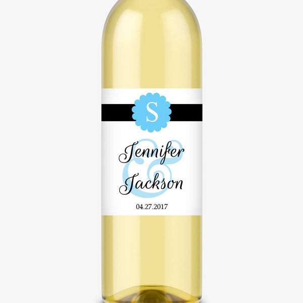 Wine bottle labels 'Cigar Band' - Sky blue - Dazzling Daisies