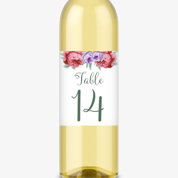 Wine bottle table numbers 'Bold Florals' - 1-4 / Green - Dazzling Daisies