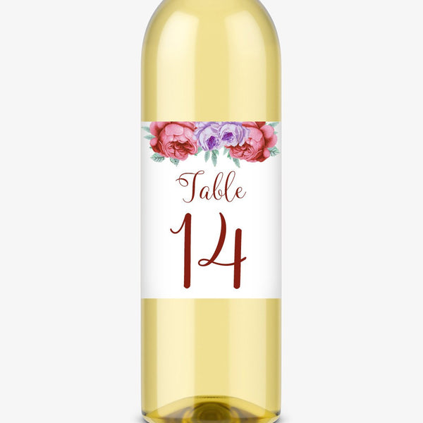 Wine bottle table numbers 'Bold Florals' - 1-4 / Maroon - Dazzling Daisies