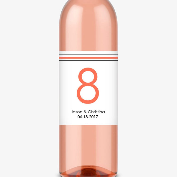 Wine bottle table numbers 'Straight Forward' - 1-4 / Coral - Dazzling Daisies