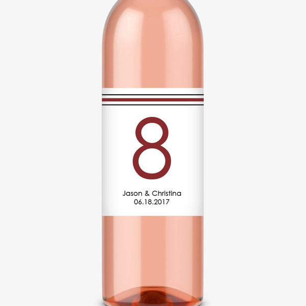 Wine bottle table numbers 'Straight Forward' - 1-4 / Maroon - Dazzling Daisies