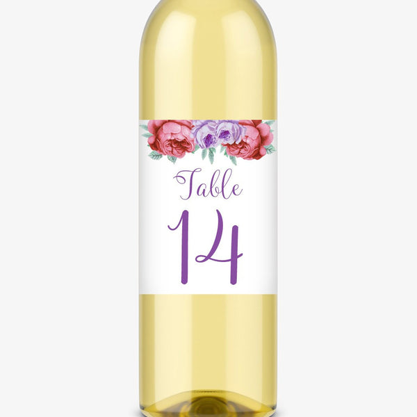 Wine bottle table numbers 'Bold Florals' - 1-4 / Purple - Dazzling Daisies