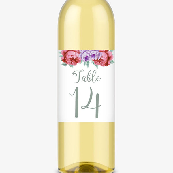 Wine bottle table numbers 'Bold Florals' - 1-4 / Sage - Dazzling Daisies
