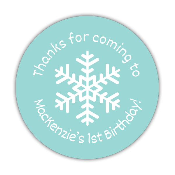 "Winter birthday stickers 'Snowflake Center' - 1.5"" circle = 30 labels per sheet / Aquamarine - Dazzling Daisies"