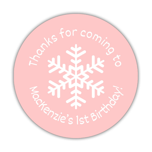 "Winter birthday stickers 'Snowflake Center' - 1.5"" circle = 30 labels per sheet / Blush - Dazzling Daisies"