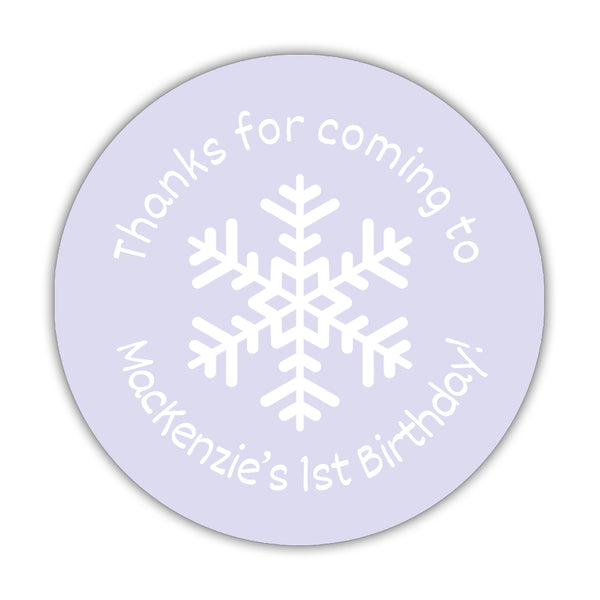 "Winter birthday stickers 'Snowflake Center' - 1.5"" circle = 30 labels per sheet / Lavender - Dazzling Daisies"
