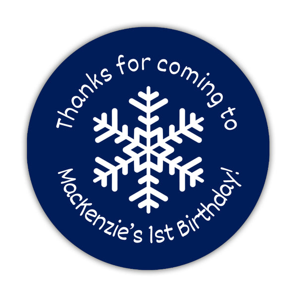 "Winter birthday stickers 'Snowflake Center' - 1.5"" circle = 30 labels per sheet / Navy - Dazzling Daisies"