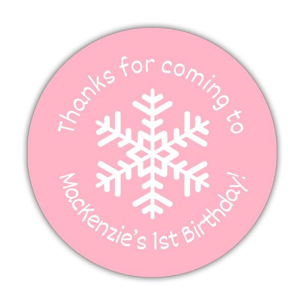 "Winter birthday stickers 'Snowflake Center' - 1.5"" circle = 30 labels per sheet / Pink - Dazzling Daisies"