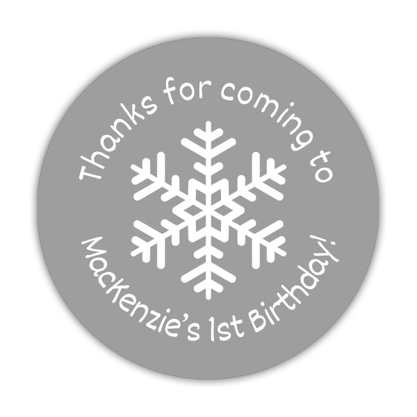 "Winter birthday stickers 'Snowflake Center' - 1.5"" circle = 30 labels per sheet / Silver - Dazzling Daisies"