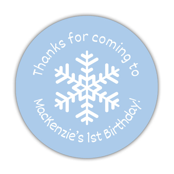 "Winter birthday stickers 'Snowflake Center' - 1.5"" circle = 30 labels per sheet / Steel blue - Dazzling Daisies"