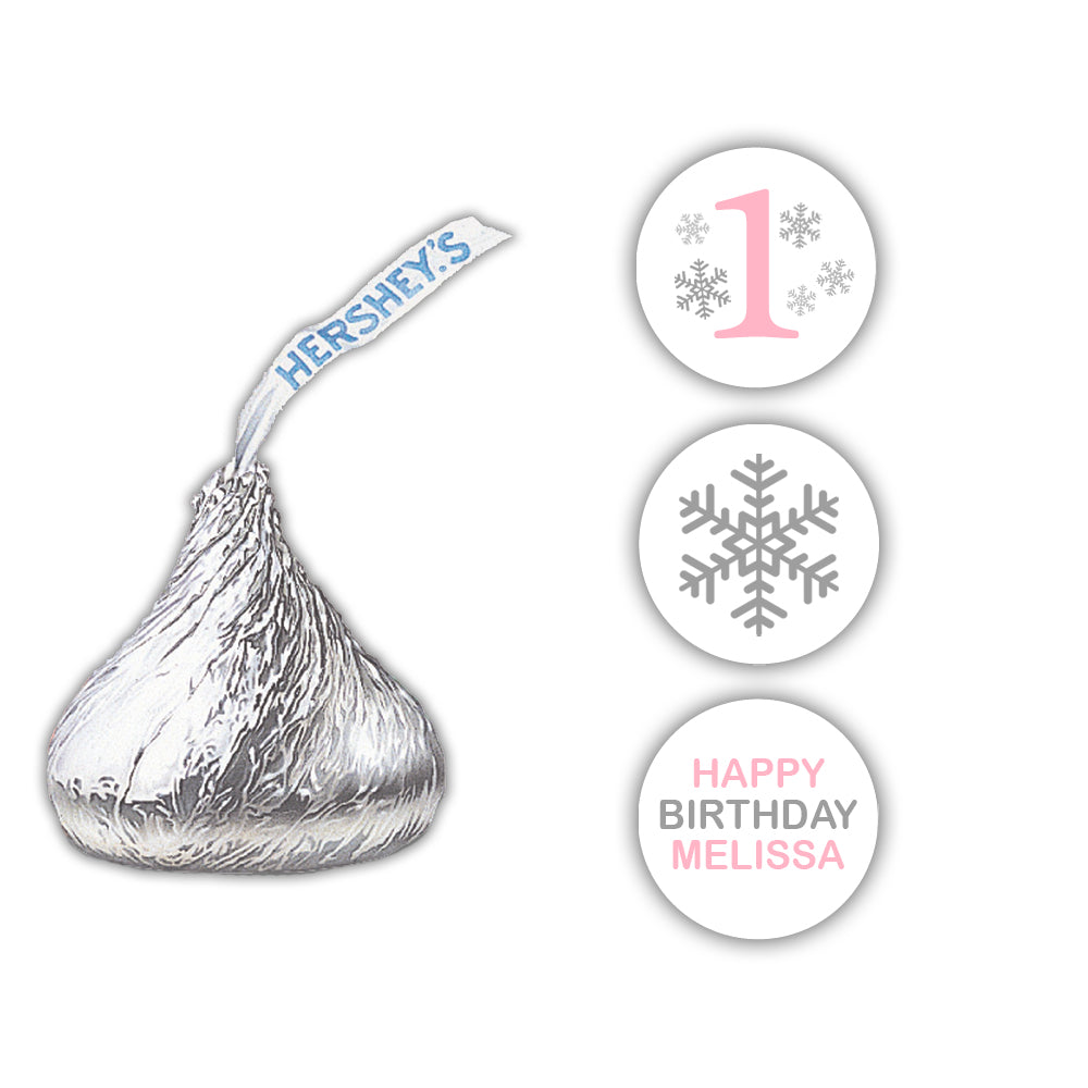Winter onederland Hershey kiss stickers - Sky blue - Dazzling Daisies