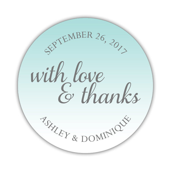 "With love and thanks stickers - 1.5"" circle = 30 labels per sheet / Aquamarine - Dazzling Daisies"