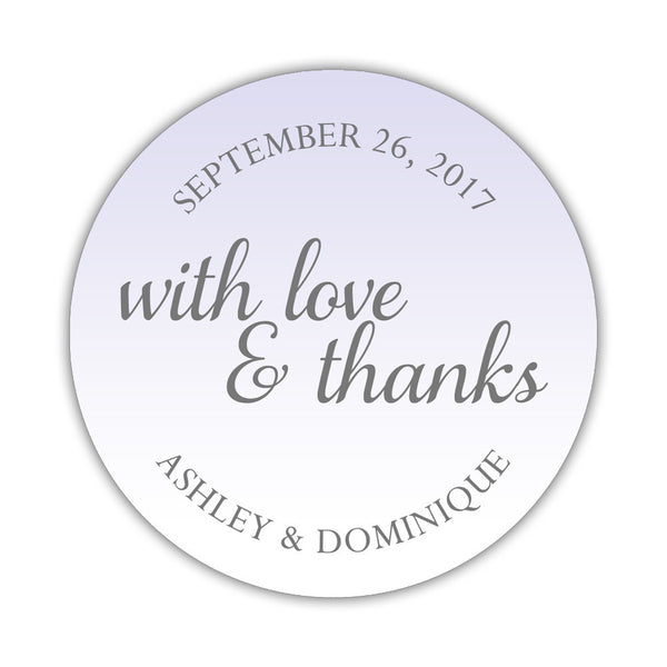 "With love and thanks stickers - 1.5"" circle = 30 labels per sheet / Lavender - Dazzling Daisies"