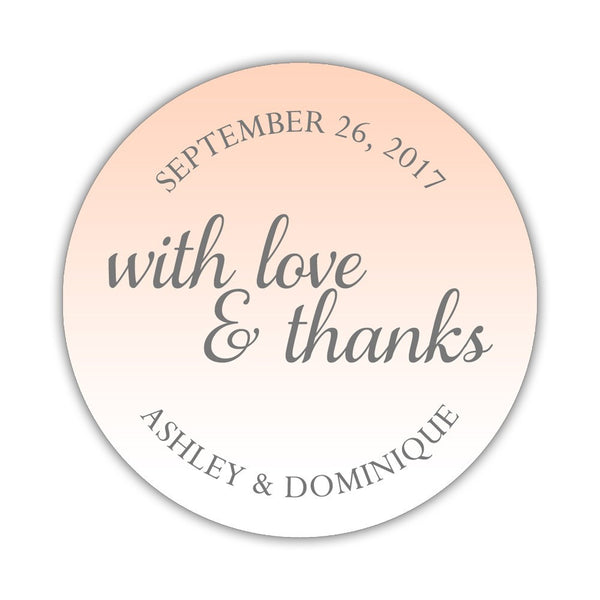 "With love and thanks stickers - 1.5"" circle = 30 labels per sheet / Peach - Dazzling Daisies"