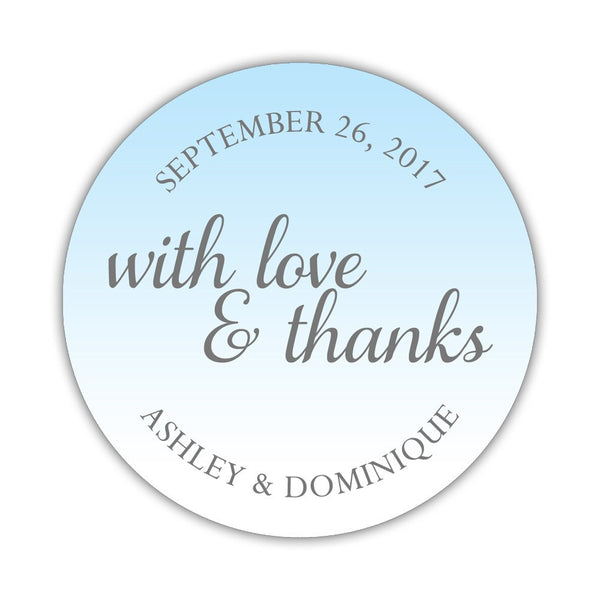"With love and thanks stickers - 1.5"" circle = 30 labels per sheet / Sky blue - Dazzling Daisies"