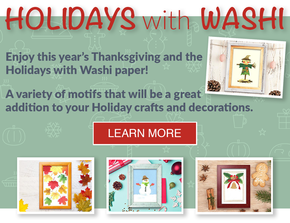 Holidays with Washi | Enjoy this year's Holidays with Washi paper! A variety of motifs that will be a great addition to your Holiday crafts and decorations.