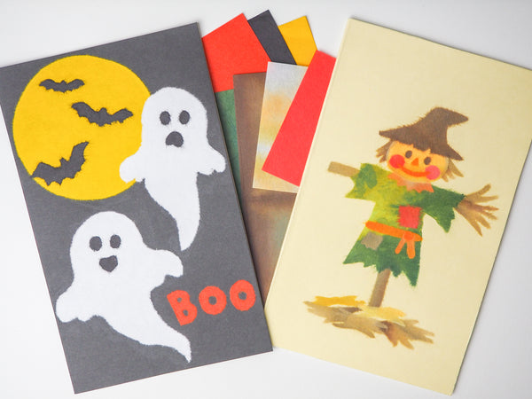 DOUBLE the FUN with TWO CHIGIRI-E KITS! Anything But Scary Scarecrow & Ghosts Are Made For Scaring!
