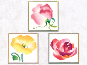 Three petite flowers + Frame