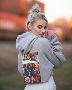 Cropped abstract lion hoodie