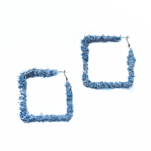 Square Denim Hoops