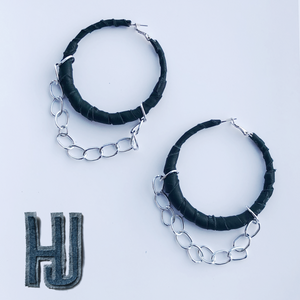 HJ Pleather Chain Hoops