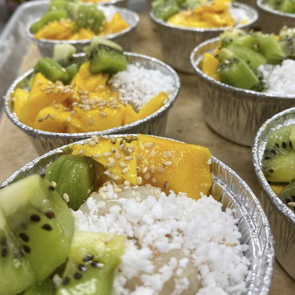 Pichi Pichi / Cassava Coconut Pudding Cup w Fresh Cut Tropical Fruit & Grated Coconut (VEGAN GLUTEN FREE)