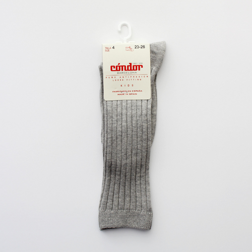 condor wide ribbed cotton knee high socks grey