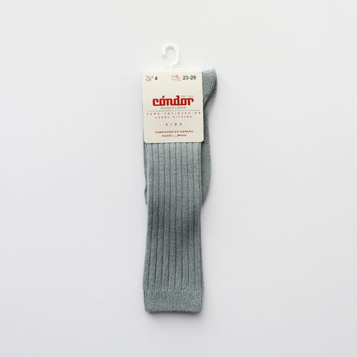 condor wide ribbed cotton knee high socks verde seco