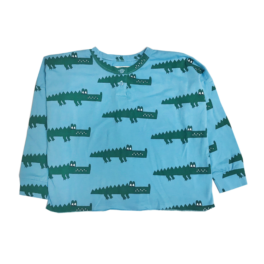 hugo loves tiki blue crocodile henley wide tee