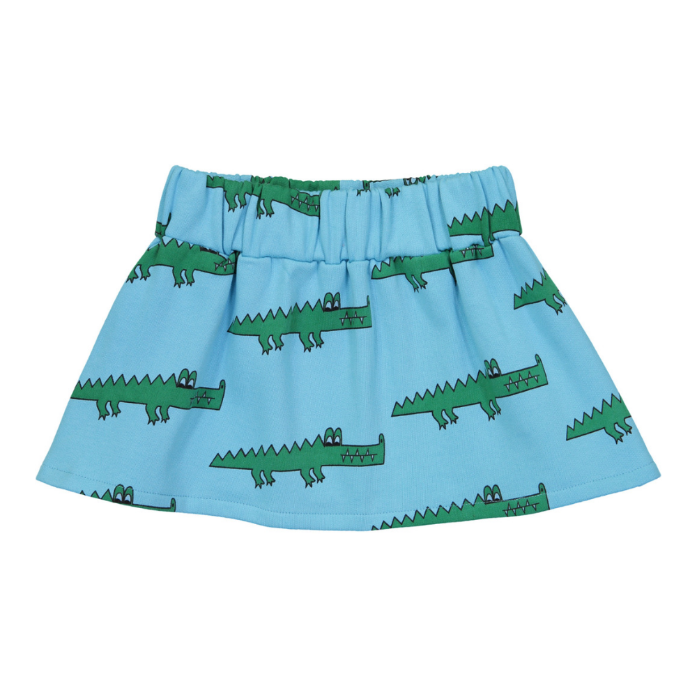 hugo loves tiki blue crocodile skirt