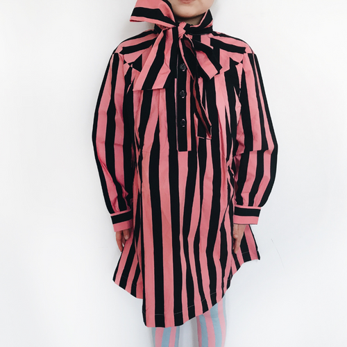 hugo loves tiki pink and black stripe bow dress