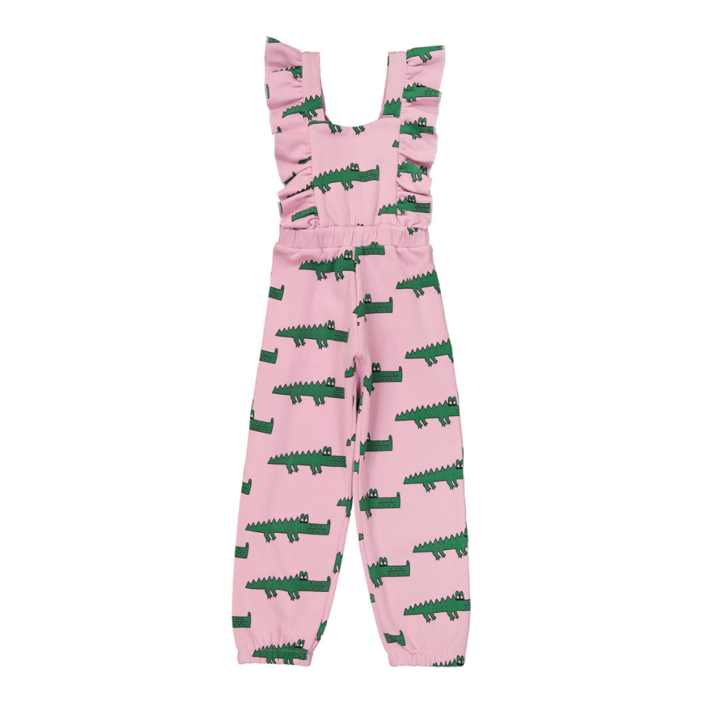 Hugo Loves Tiki Canada & USA : Pink crocodile ruffled jumpsuit - Hugo Loves Tiki jumpsuit